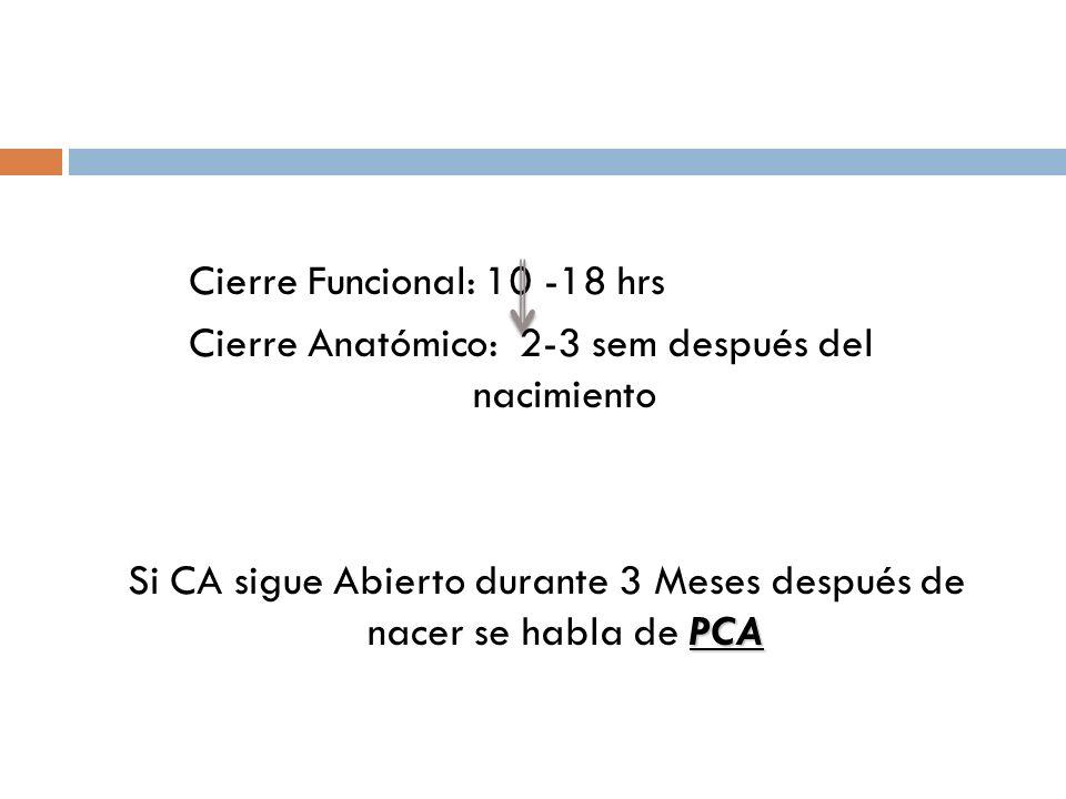 Cierre Funcional: 10 -18 hrs Cierre Anatómico: 2-3 sem después del nacimiento Si CA sigue Abierto durante 3 Meses después de nacer se habla de PCA