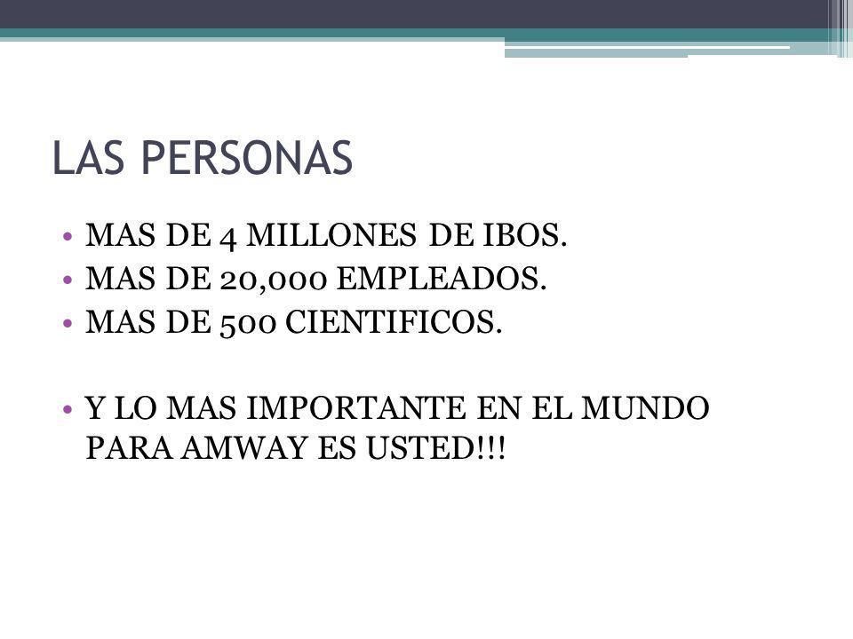 LAS PERSONAS MAS DE 4 MILLONES DE IBOS. MAS DE 20,000 EMPLEADOS.