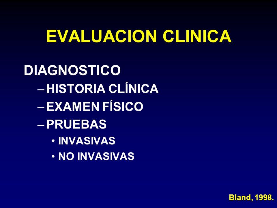EVALUACION CLINICA DIAGNOSTICO HISTORIA CLÍNICA EXAMEN FÍSICO PRUEBAS