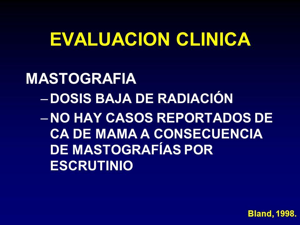 EVALUACION CLINICA MASTOGRAFIA DOSIS BAJA DE RADIACIÓN