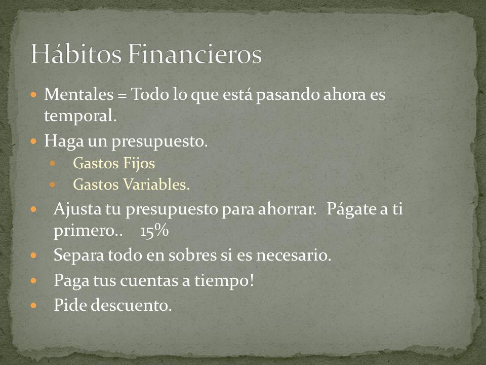 Hábitos FinancierosMentales = Todo lo que está pasando ahora es temporal. Haga un presupuesto. Gastos Fijos.