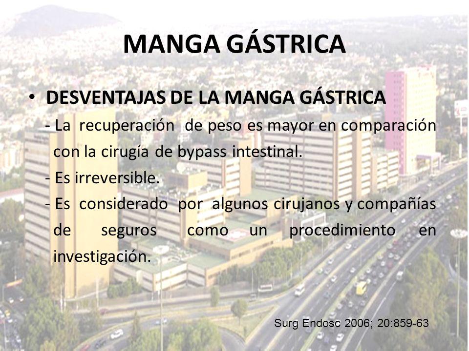 MANGA GÁSTRICA DESVENTAJAS DE LA MANGA GÁSTRICA