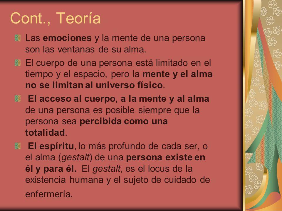 Cont., Teoría Las emociones y la mente de una persona son las ventanas de su alma.