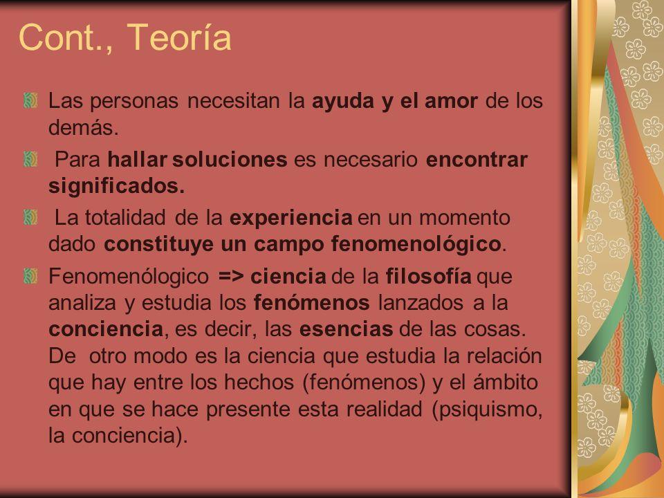Cont., Teoría Las personas necesitan la ayuda y el amor de los demás.
