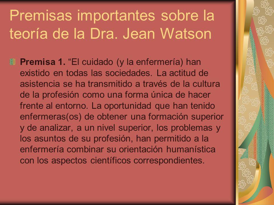 Premisas importantes sobre la teoría de la Dra. Jean Watson