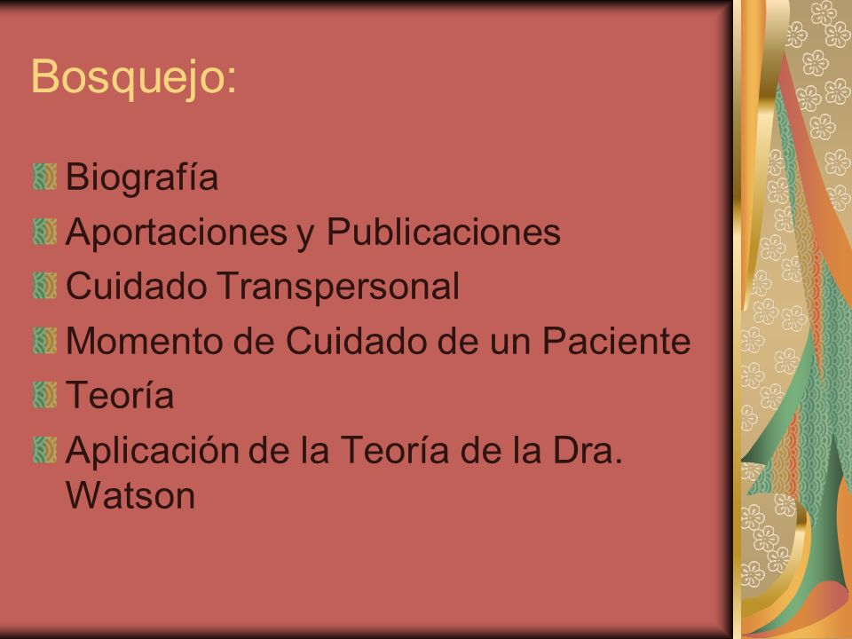 Bosquejo: Biografía Aportaciones y Publicaciones Cuidado Transpersonal