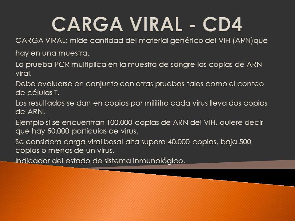 CARGA VIRAL - CD4CARGA VIRAL: mide cantidad del material genético del VIH (ARN)que hay en una muestra.