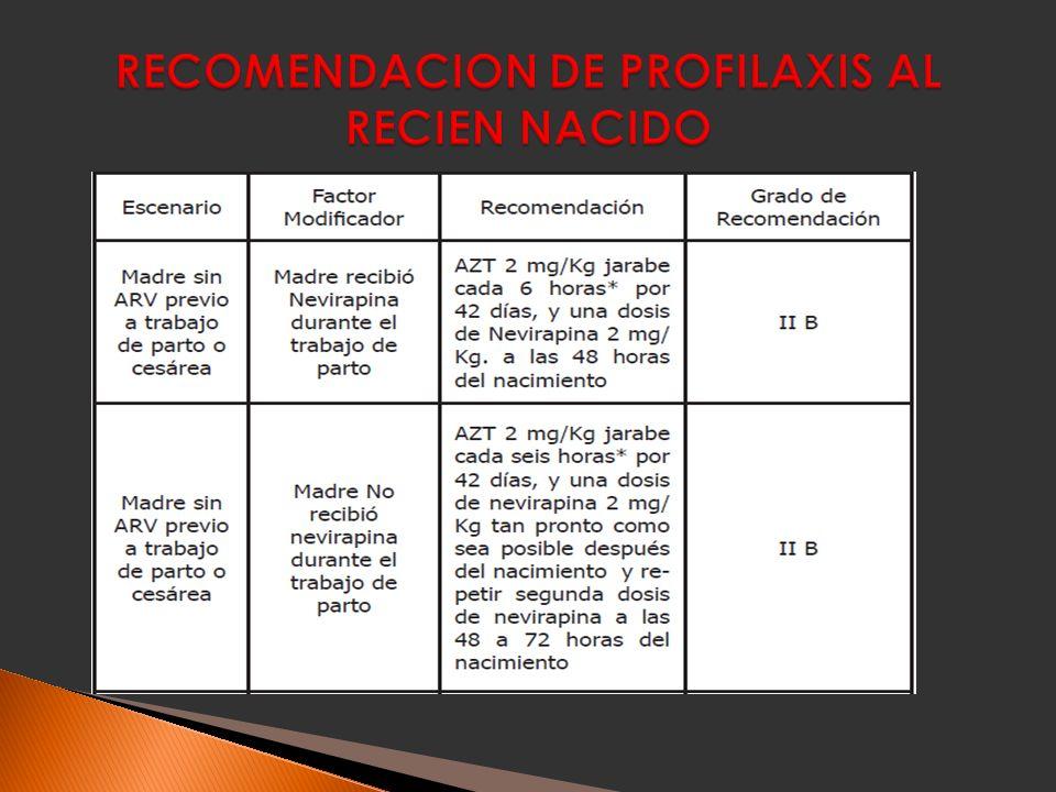 RECOMENDACION DE PROFILAXIS AL RECIEN NACIDO