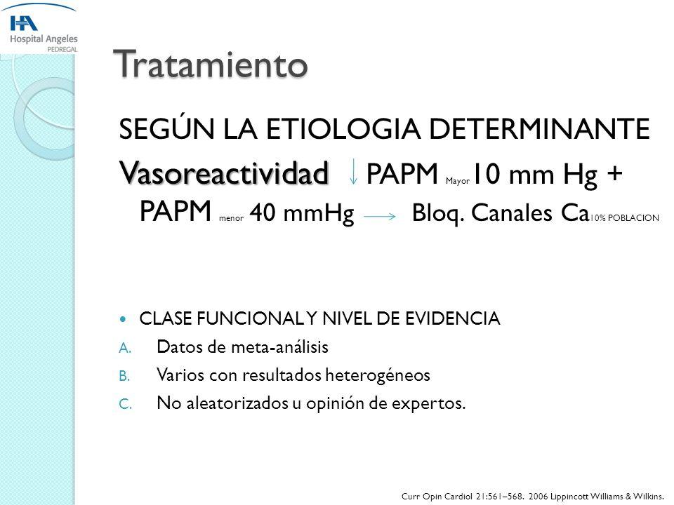 TratamientoSEGÚN LA ETIOLOGIA DETERMINANTE. Vasoreactividad PAPM Mayor10 mm Hg + PAPM menor 40 mmHg Bloq. Canales Ca10% POBLACION.