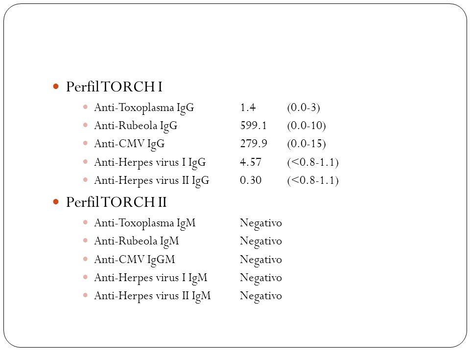 Perfil TORCH I Perfil TORCH II Anti-Toxoplasma IgG 1.4 (0.0-3)