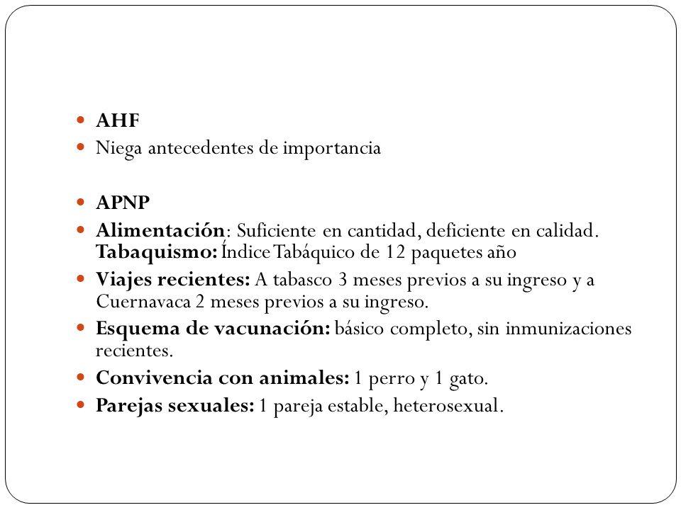 AHF Niega antecedentes de importancia. APNP.