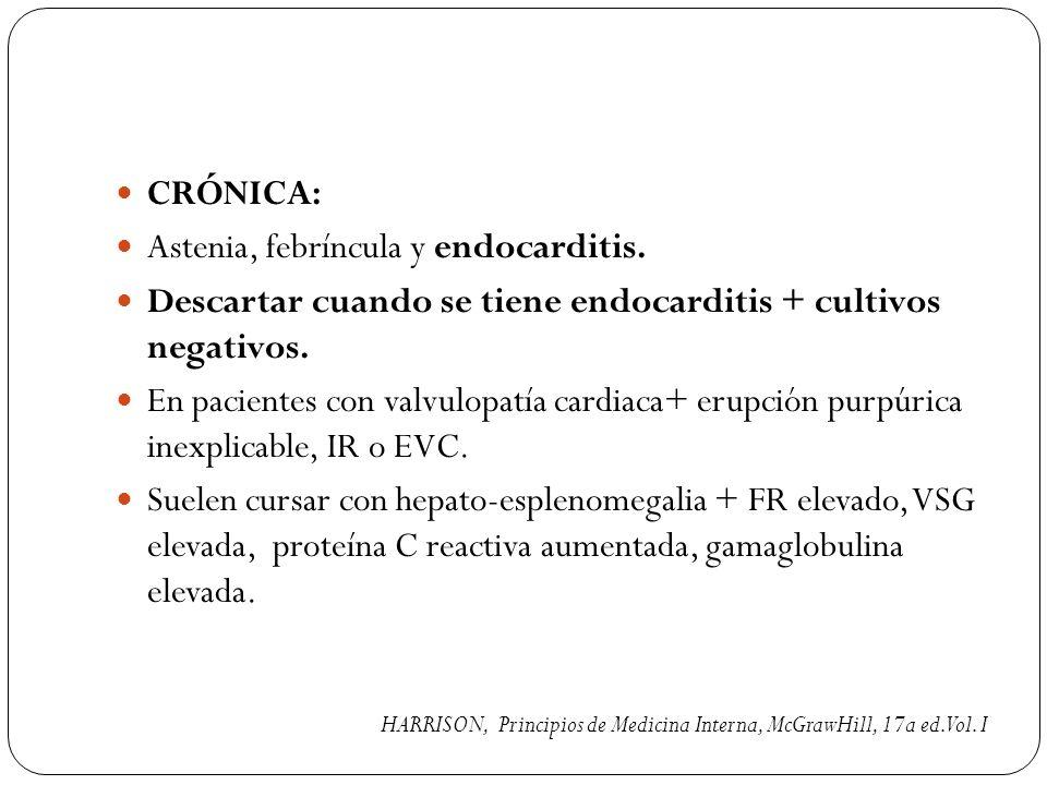 Astenia, febríncula y endocarditis.