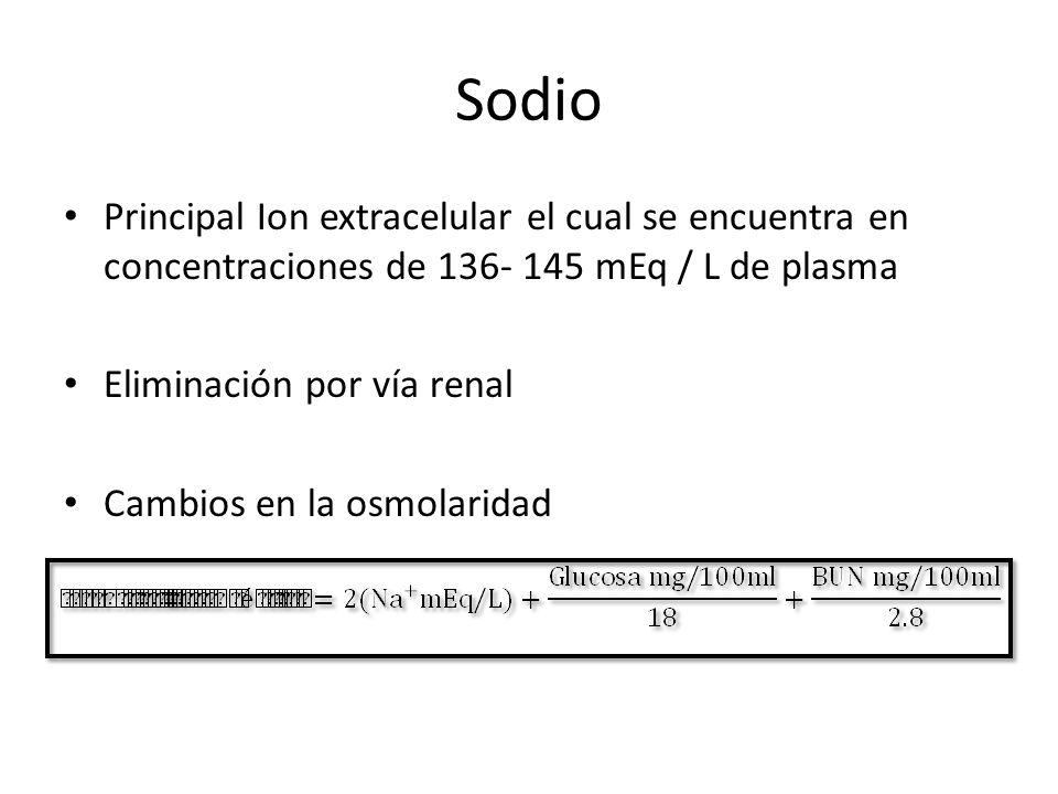 Sodio Principal Ion extracelular el cual se encuentra en concentraciones de 136- 145 mEq / L de plasma.
