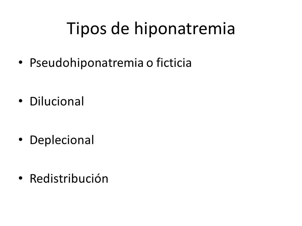 Tipos de hiponatremia Pseudohiponatremia o ficticia Dilucional