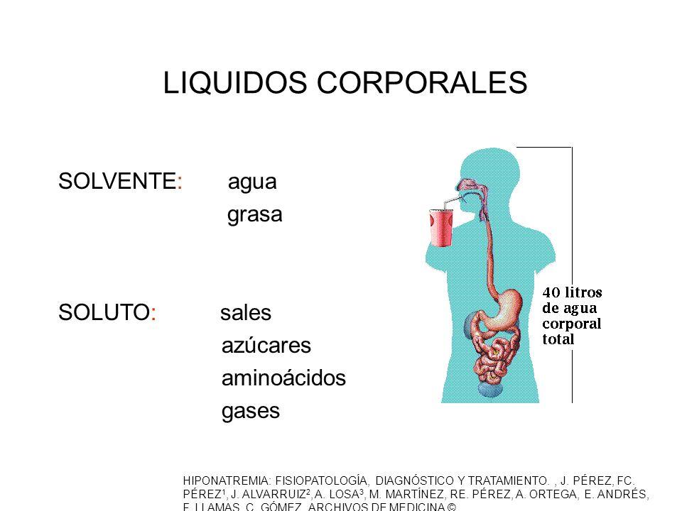 LIQUIDOS CORPORALES SOLVENTE: agua grasa SOLUTO: sales azúcares aminoácidos gases