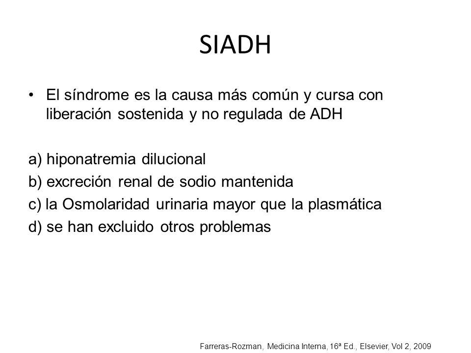 SIADH El síndrome es la causa más común y cursa con liberación sostenida y no regulada de ADH. a) hiponatremia dilucional.