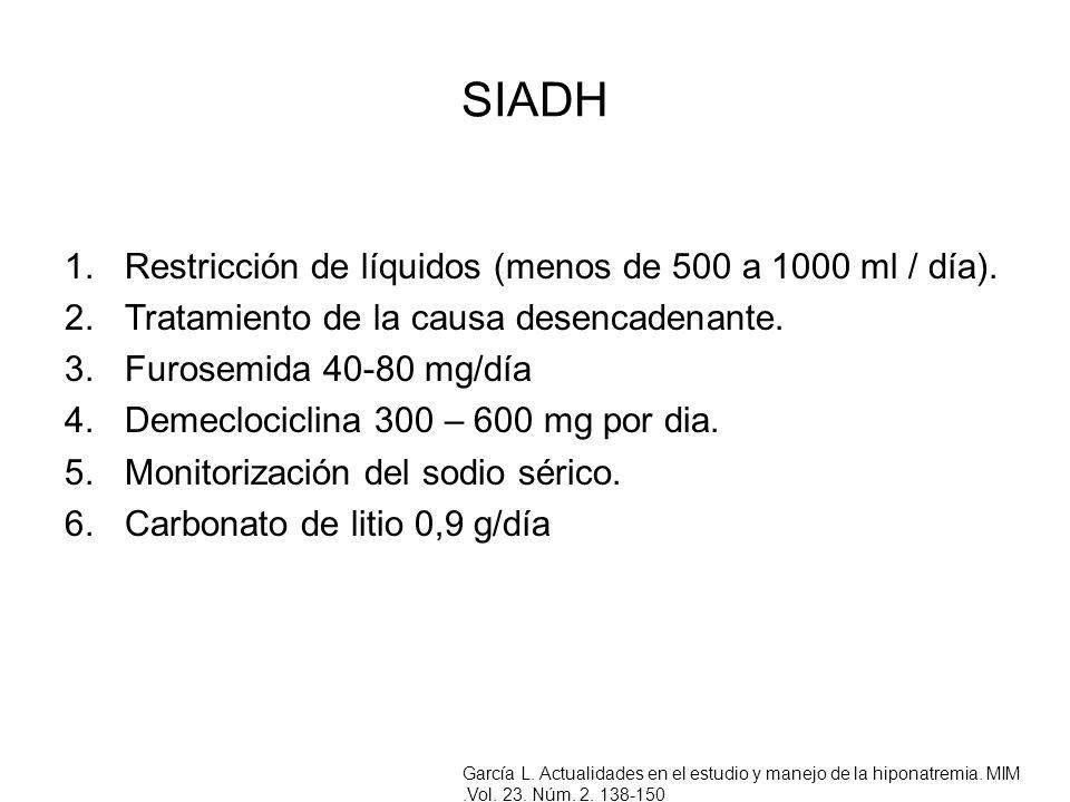 SIADH Restricción de líquidos (menos de 500 a 1000 ml / día).