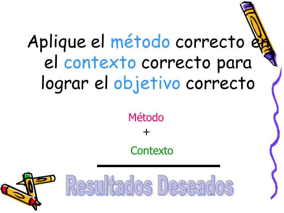Aplique el método correcto en el contexto correcto para lograr el objetivo correcto