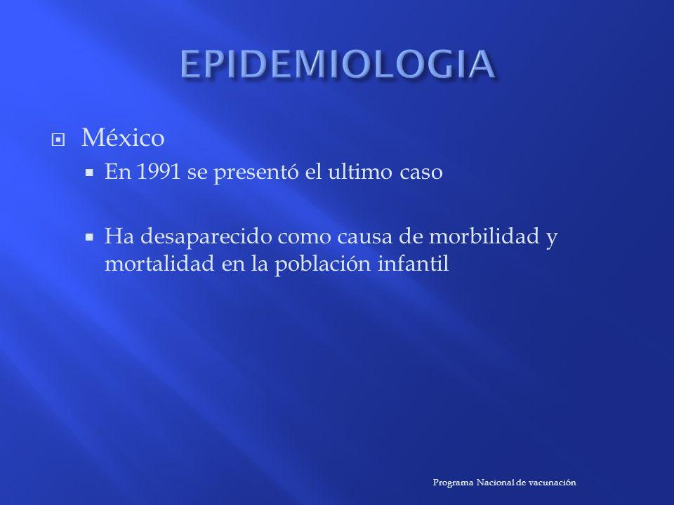 EPIDEMIOLOGIA México En 1991 se presentó el ultimo caso