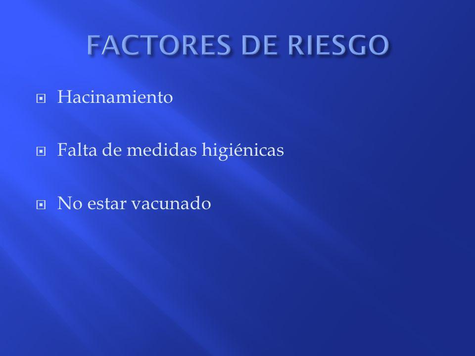 FACTORES DE RIESGO Hacinamiento Falta de medidas higiénicas