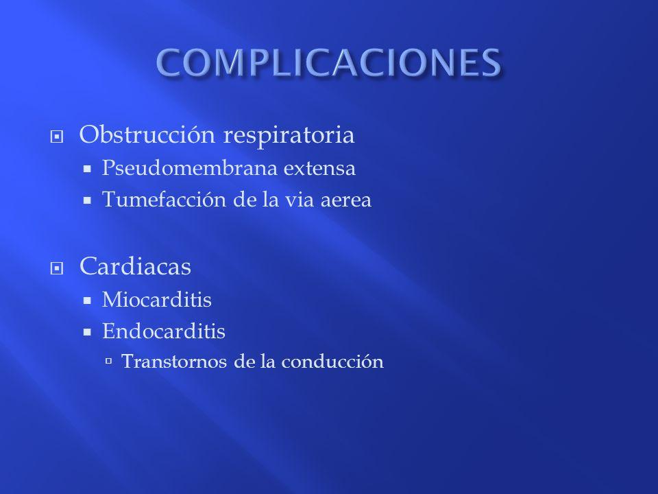 COMPLICACIONES Obstrucción respiratoria Cardiacas