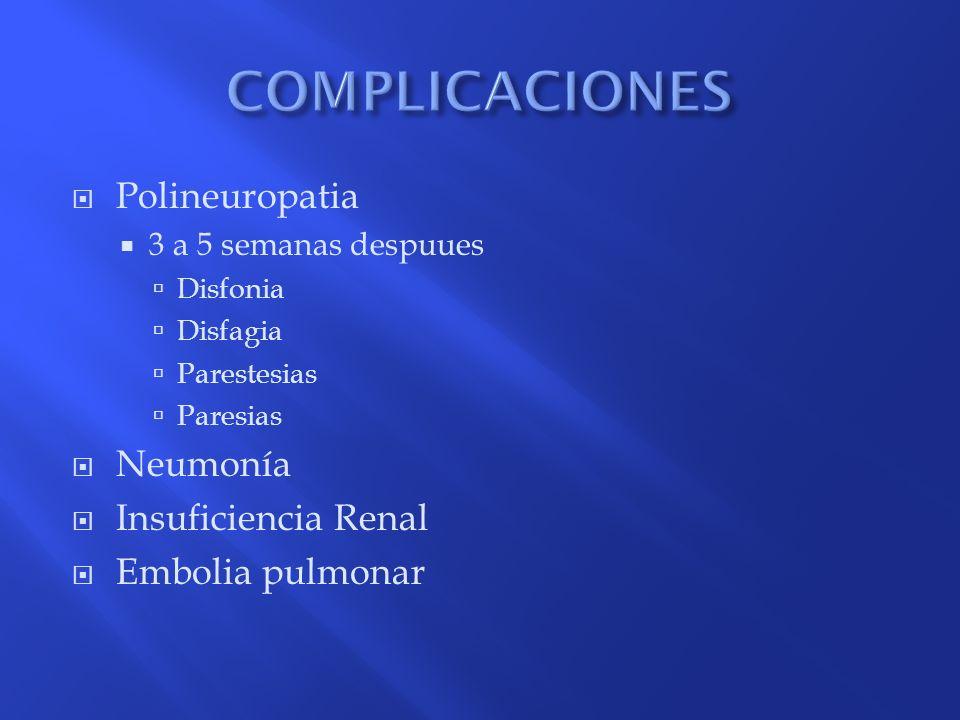 COMPLICACIONES Polineuropatia Neumonía Insuficiencia Renal