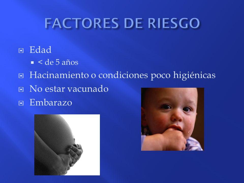 FACTORES DE RIESGO Edad Hacinamiento o condiciones poco higiénicas