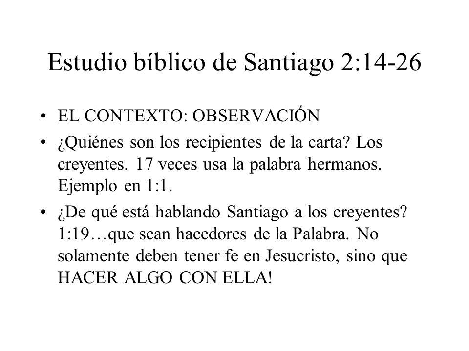 Estudio bíblico de Santiago 2:14-26