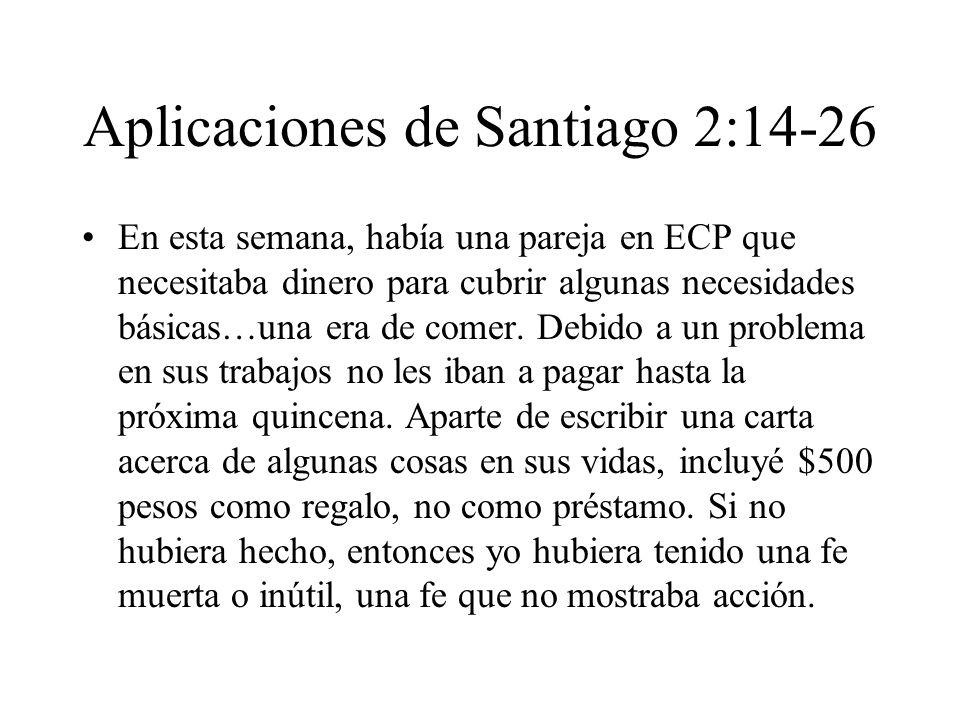 Aplicaciones de Santiago 2:14-26