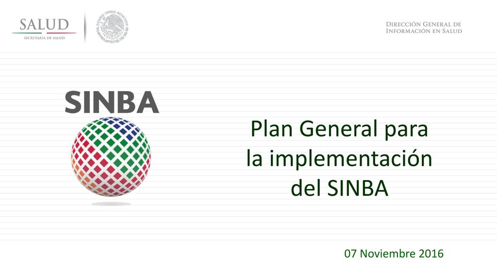 Plan General para la implementación del SINBA