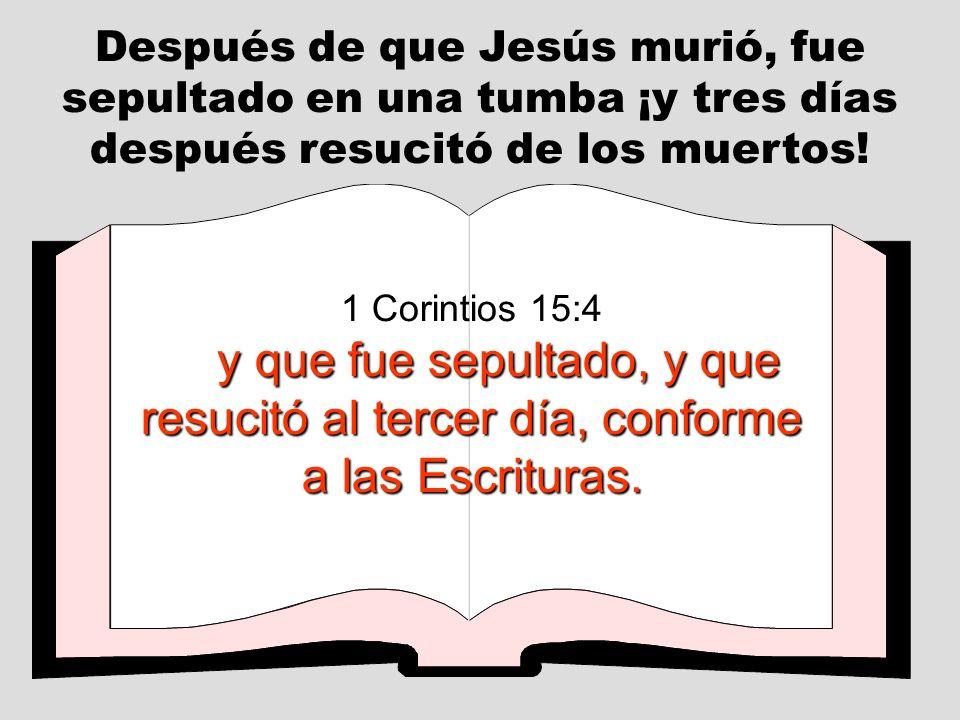 Después de que Jesús murió, fue sepultado en una tumba ¡y tres días después resucitó de los muertos!