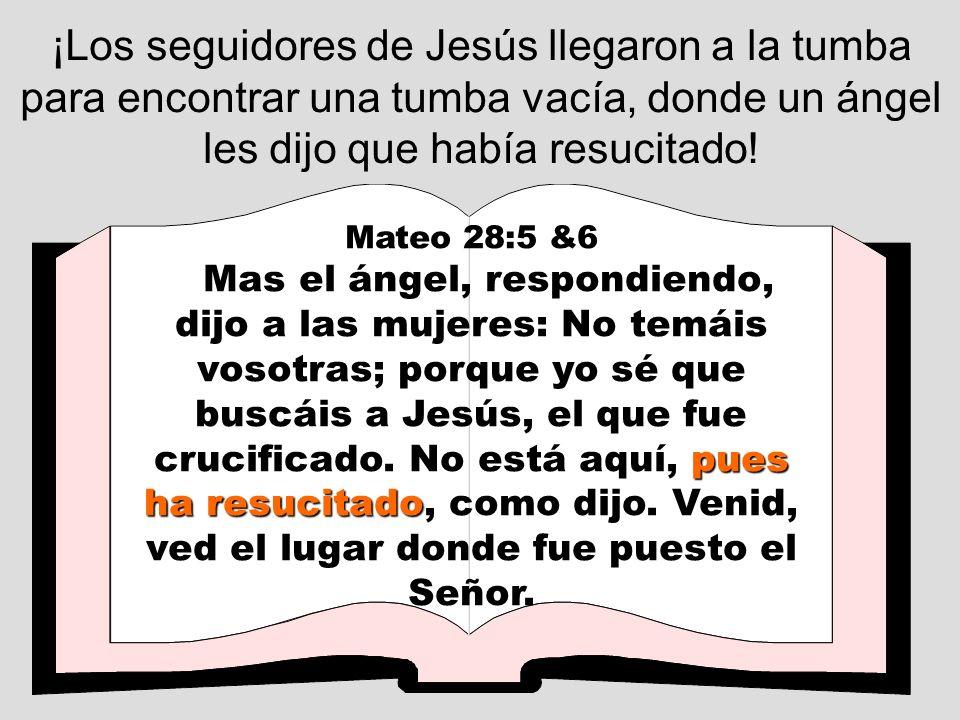 ¡Los seguidores de Jesús llegaron a la tumba para encontrar una tumba vacía, donde un ángel les dijo que había resucitado!