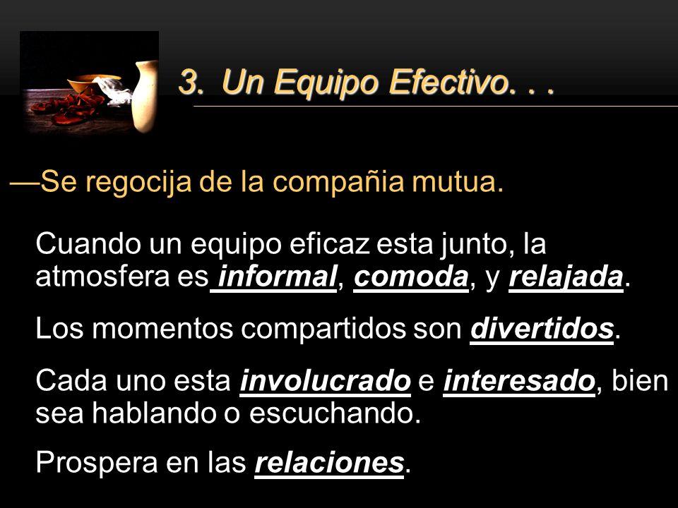 3. Un Equipo Efectivo. . . Se regocija de la compañia mutua.