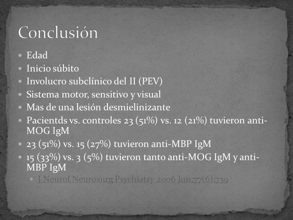 Conclusión Edad Inicio súbito Involucro subclínico del II (PEV)