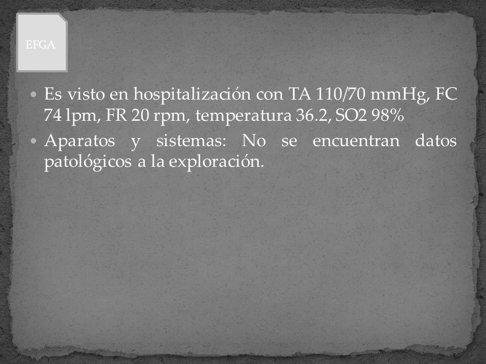 EFGA Es visto en hospitalización con TA 110/70 mmHg, FC 74 lpm, FR 20 rpm, temperatura 36.2, SO2 98%