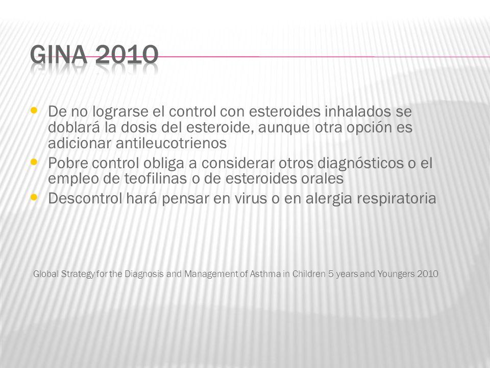 GINA 201oDe no lograrse el control con esteroides inhalados se doblará la dosis del esteroide, aunque otra opción es adicionar antileucotrienos.