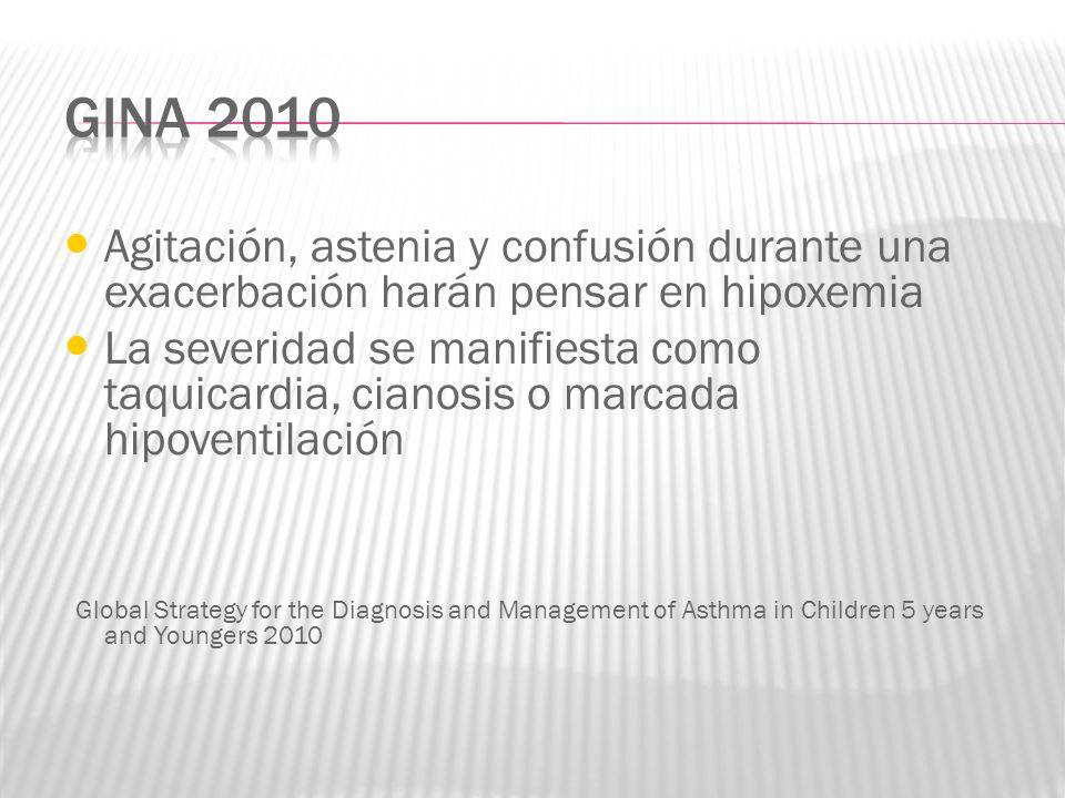 GINA 2010 Agitación, astenia y confusión durante una exacerbación harán pensar en hipoxemia.