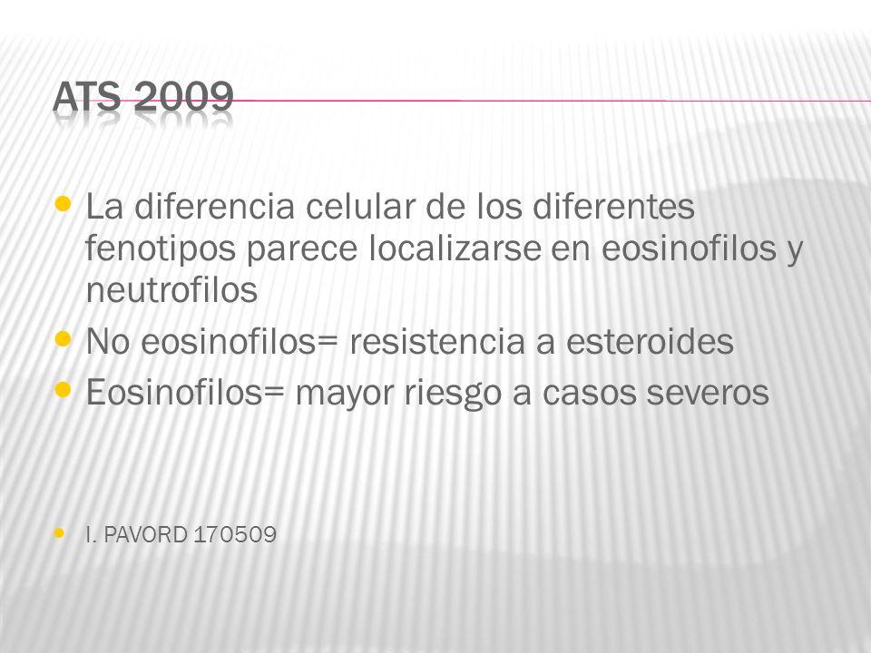 ATS 2009 La diferencia celular de los diferentes fenotipos parece localizarse en eosinofilos y neutrofilos.