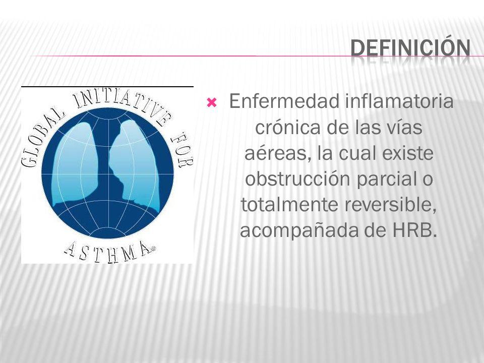 DEFINICIÓNEnfermedad inflamatoria crónica de las vías aéreas, la cual existe obstrucción parcial o totalmente reversible, acompañada de HRB.