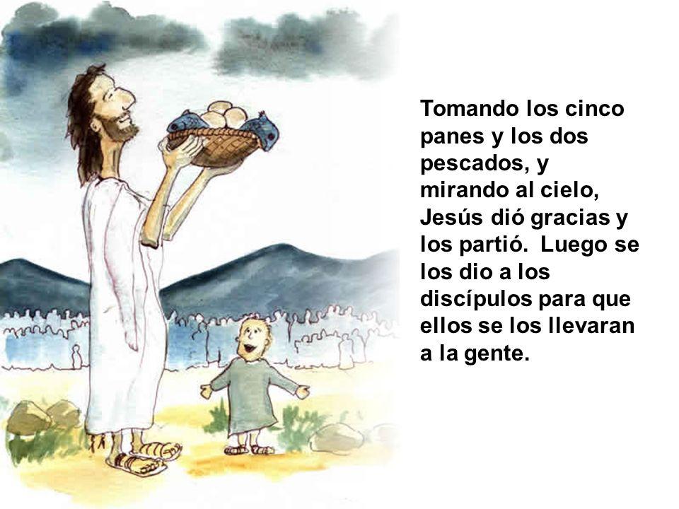 Tomando los cinco panes y los dos pescados, y mirando al cielo, Jesús dió gracias y los partió.