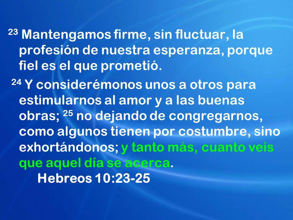 23 Mantengamos firme, sin fluctuar, la profesión de nuestra esperanza, porque fiel es el que prometió.