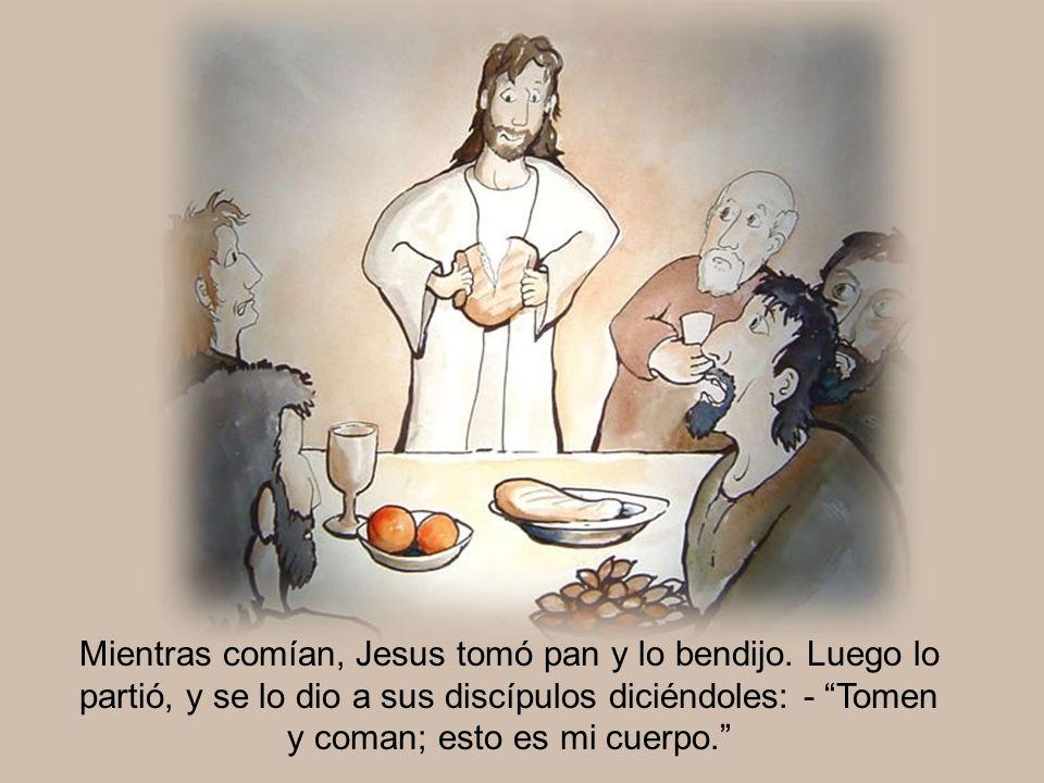Mientras comían, Jesus tomó pan y lo bendijo