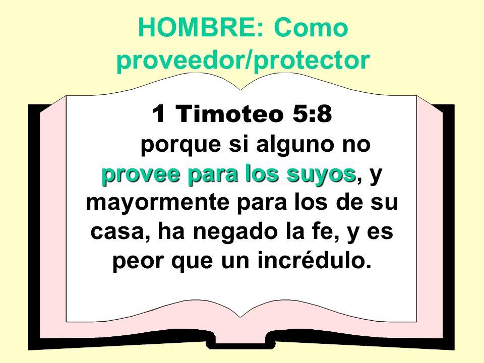 HOMBRE: Como proveedor/protector