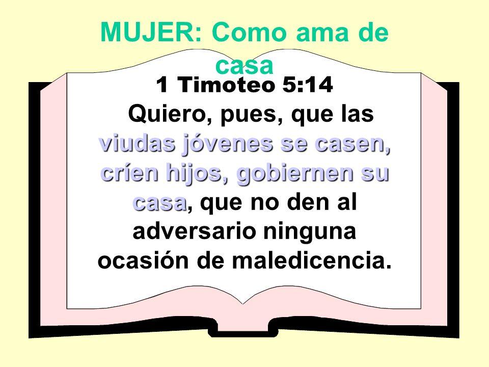 MUJER: Como ama de casa 1 Timoteo 5:14