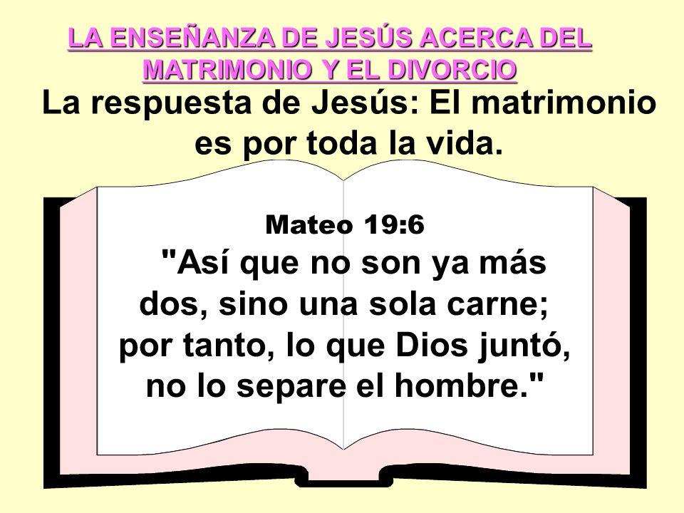 La respuesta de Jesús: El matrimonio es por toda la vida.