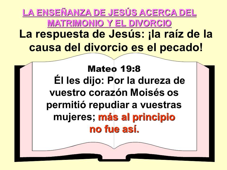 La respuesta de Jesús: ¡la raíz de la causa del divorcio es el pecado!