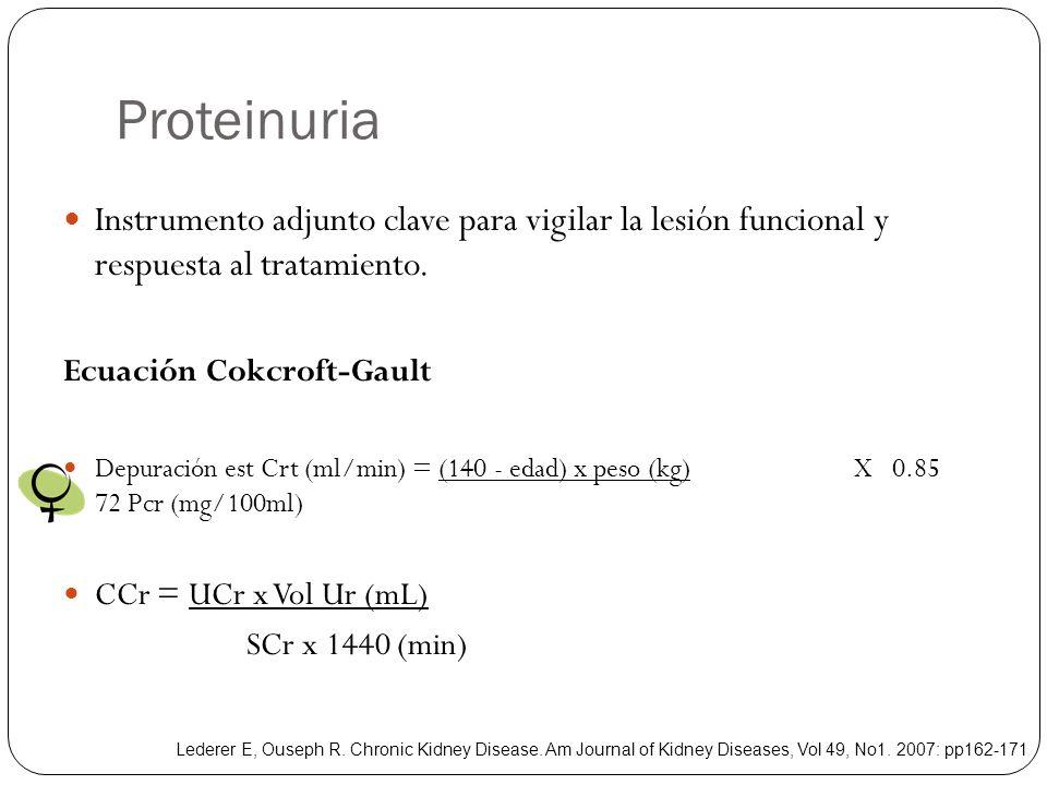 Proteinuria Instrumento adjunto clave para vigilar la lesión funcional y respuesta al tratamiento.