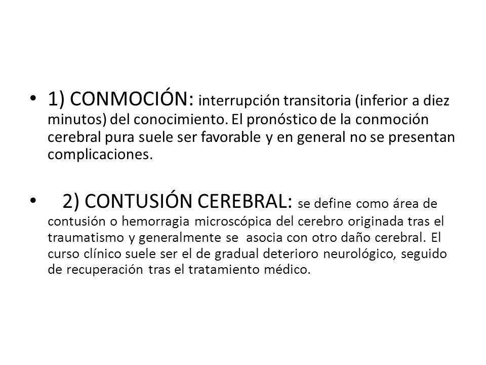 1) CONMOCIÓN: interrupción transitoria (inferior a diez minutos) del conocimiento. El pronóstico de la conmoción cerebral pura suele ser favorable y en general no se presentan complicaciones.