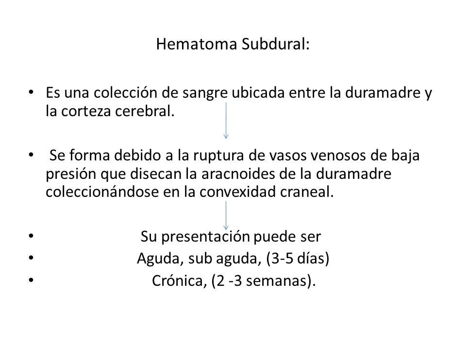 Hematoma Subdural:Es una colección de sangre ubicada entre la duramadre y la corteza cerebral.