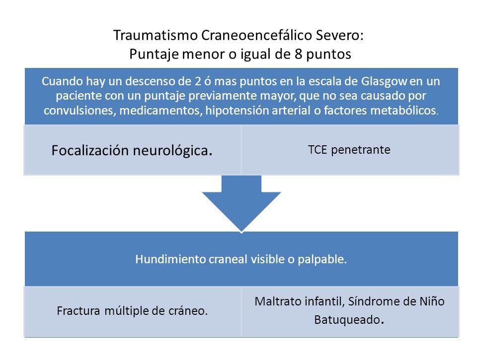 Traumatismo Craneoencefálico Severo: Puntaje menor o igual de 8 puntos
